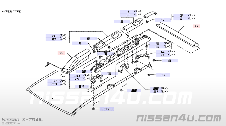 Roof panel & fitting â Illustration #2, Nissan X-TRAIL 2007