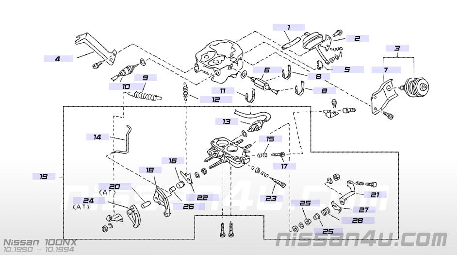 Carburetor Carburetor Repair Kit Carburetor Throttle Control Illustration 3 Nissan 100nx 1992