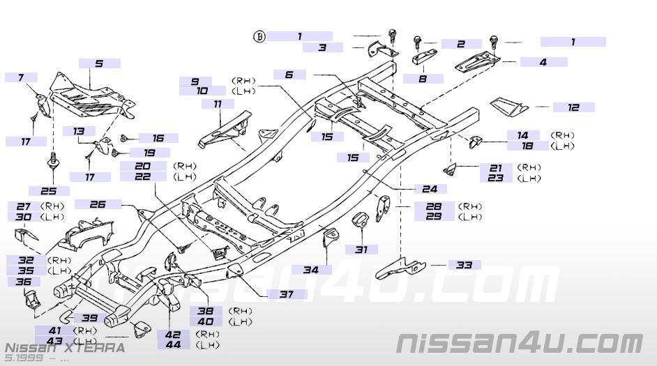 Frame — Illustration #2, Nissan XTERRA 2000